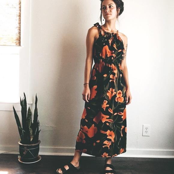 70017fc566 Tiger lillies floral maxi dress